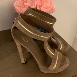 Authentic Gucci suede heels with silver border